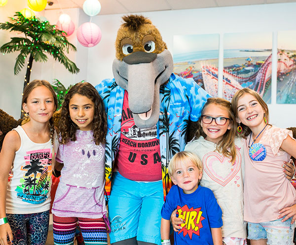 Party Guests with Splash the Pelican