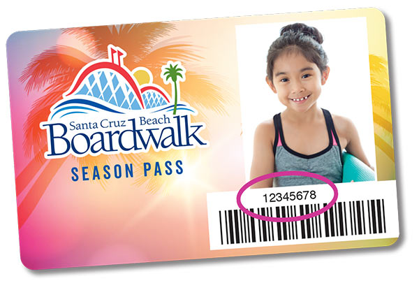 Boardwalk Season Pass Card with number